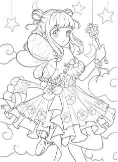 Coloring Book Pages, Coloring Sheets, Lineart Anime, Anime Flower, Japan Style, Anime Fairy, Female Anime, To Color, Manga Drawing
