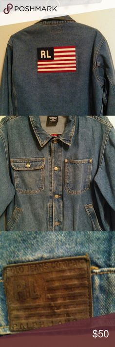 Jean jacket Vintage polo jean co.Ralph Lauren denim blue trucker woman's xl jacket.all american stylish jacket.i love this jacket but i have too much, so it's gotta go.xl in size its generous because back then they made cloths more true to size.leather patch on right lower part of jacket,snaps on sleeves,chest pockets,side pockets,and snaps around bottom of jacket(2).well made jacket.comes from a smoke free,clean home. Ralph Lauren Jackets & Coats Jean Jackets