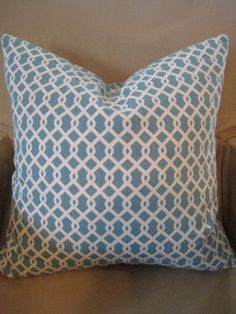 PAIR of Robin egg blue trellis pillows by sewhipandhumble on Etsy, $45.00