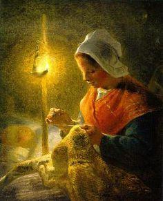 Jean-francois Millet - 1814-1875 - Woman Sewing by lamplight
