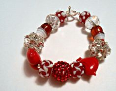 Handmade Bracelet  Glass Beads hearts by ConstantlyAlice on Etsy, $12.00