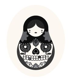 sugar skulls & russian dolls> two of my favs in one!