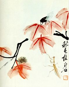 """Painting of insect and red leaves. Qi Baishi (1864-1957) was an influential Chinese painter most noted for the whimsical, often playful style of his watercolor works. His pseudonyms include Qí Huáng (齊璜) and Qí Wèiqīng (齐渭清). The subjects of his paintings include almost everything, commonly animals, scenery, figures, toys, vegetables, and so on. He theorized that """"paintings must be something between likeness and unlikeness, much like today's vulgarians, but not like to cheat popular people""""."""