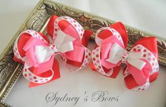 Valentines Day boutique hair bow hair clip by SydneysBows on Etsy, $4.99