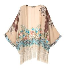 Bestyou® Women's Fringe Cover up Print Tunic Tassel Pompom Beachwear Kimono Cardigan (Beige)$16.99 + $2.99 shipping