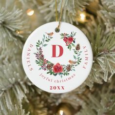 Create your own family keepsake monogram photo ceramic ornament