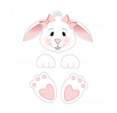 Bunny clip art clipartcute bunniesscrapbookdigital artgraphic design (personal & small business use). Bunny Crafts, Easter Crafts, Holiday Crafts, Crafts For Kids, Easter Bunny Colouring, Diy Ostern, Bunny Face, Easter Art, Easter Party