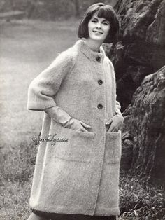 Reprint vintage Mohair Coat knitting pattern in PDF instant