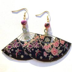 Korean Fan Earrings, Mother of Pearl Fan Earrings, Enamel Fan Earrings, Asian Fan Earrings Funky Earrings, Floral Motif, Bucket Bag, Enamel, Korean, Buy And Sell, Asian, Handmade, Bags