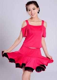 Woman s Modern Latin Dance Dress Set ( Strap Top + Skirt ) Stage Rumba  Cha-cha Tango Dancewear 94edc4c93