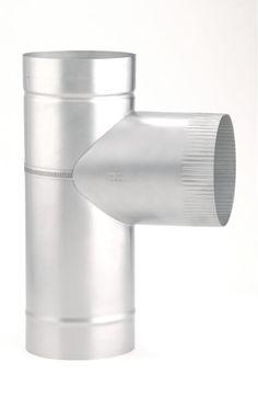 "Heat-Fab 3616761 6"" Saf-T Liner 316 Female Tee Stainless Steel Vent Pipe Rigid Liner Tee"