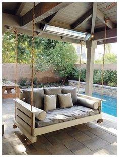 outdoor porch bed swing 18 - iTs Home Ideas Outdoor Porch Bed, Outdoor Spaces, Outdoor Living, Porch Swings, Bed Swings, Diy Porch, Patio Bed, Outdoor Patio Swing, Indoor Swing