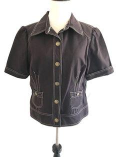 067bdb5cc3 Tommy Hilfiger E1 Womens Missy Jacket Short Sleeve Collar Button Down Sz L  Brown  TommyHilfiger