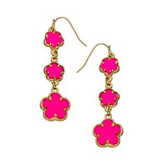 Blu Bijoux Neon Flower Power Earrings (26 NZD) ❤ liked on Polyvore featuring jewelry, earrings, fashion jewelryearrings, neon jewelry, earring jewelry, french hook earrings, blu bijoux and neon earrings