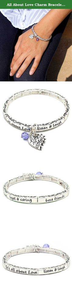 All About Love Charm Bracelet, 'Sister' - This Silver Stretchy Bangle Bracelet Is the Perfect Gift Making Anyone Feel Special and Loved. Sisters are the best friends we grow up with, the most loyal and caring. Sisters understand and love like no other. They are always there to listen, and to make us laugh when we need it. Sisters are there for life. Treasure a sister?s love with this matte silver stretch bracelet featuring an engraved heart charm. A repeating heart scroll design and…