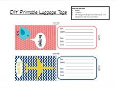 Luggage Tags Template I Was Able To Print Them And Cut Them Down