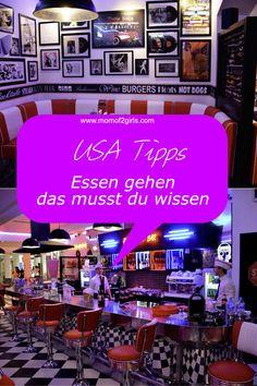 Du planst eine USA Reise? Damit du in deiner Zeit in den USA gut für deinen Restaurant Besuch gewappnet bist, gebe ich dir wertvolle Tipps zum Essen gehen... New York Essen, New York City, I Love Ny, Florida, Roadtrip, California Usa, The Good Place, Nyc, Restaurant