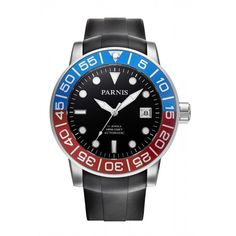 Parnis 42mm Sapphire Red Blue Rotating Bezel Automatic Watch Luminous Number