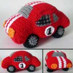 download a FREE pattern every day. ~ Herbie-style Racecar! |  Crochet Stash .Tumblr .Com