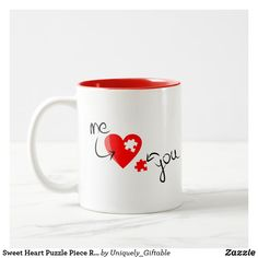 Sweet Heart Puzzle Piece Red Two Tone Coffee Mug