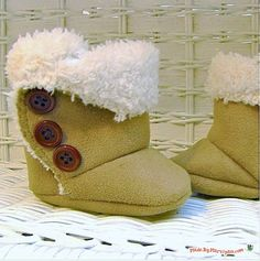 Watch a step-by-step video demonstrating how to sew baby SnUgg boots, then buy the printable pattern in my Etsy shop.