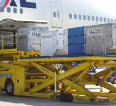 containers being unloaded from the front cargo hold of a JAL Boeing Boeing 747 400, Cargo Aircraft, Cargo Airlines, The Unit, Baggage, Vehicles, Airplanes, Airports