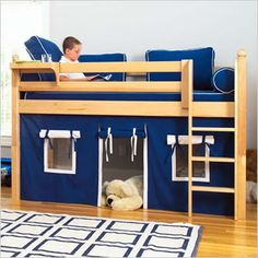 He has almost the same loft bunk bed... Just need to fashion some curtains for a little reading fort underneath.