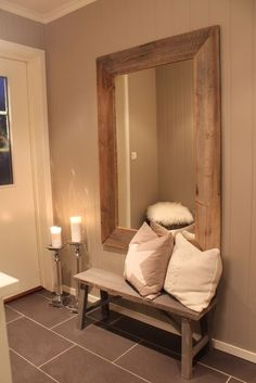 Wooden Style With a Large Mirror