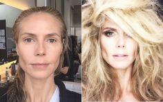 Heidi Klum mostra antes e depois de produção em fotos em seu perfil no Instagram. Foto: Reprodução/Instagram