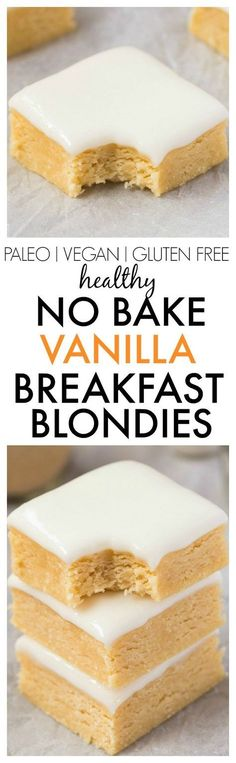 Healthy No Bake Vanilla BREAKFAST Blondies- Thick, slightly chewy and soft blondies designed for breakfast! NO butter, oil, flour or sugar, and perfect for dessert or a snack! {vegan, gluten free, paleo recipe}- http://thebigmansworld.com