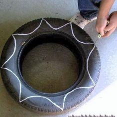 inside out tire planters. I actually have these, except we left the rim on the…