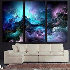 Here you will find some of the best home  wall art décor around. You will find #travel  #wall# art, #landscape wall art, #fantasy home wall art décor, animal wall art  home #décor, love wall art and so much more.  All beautiful, trendy and charming accents for your home.      Home Decor Framed 3 Panel Painting on Canvas Wall Art Posters and Prints Landscape Pictures For Living Room Office Modern Abstract Psychedelic Nebula Space Artwork Stretched (40''H x 60''W)