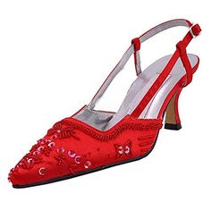 Minitoo MZ586 Women's Handmade Sequin Red Satin Bridal Wedding Evening Formal Party Pumps Shoes 12 M US - Brought to you by Avarsha.com