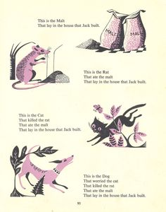The House That Jack Built – A page from a vintage children's book illustrated by Esme Eve, 'Mother Goose Nursery Rhymes' (1958).