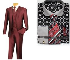 The black and burgundy combination is on point with this slim fit suit. #mensfashion #mensstyle #menssuits