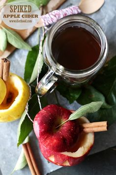 Spiked Apple Cider ~T~ Perfect for a cold night. Serve in apple cups. Apple juice, orange juice, caramel ice cream topping, cinnamon, allspice, dark rum ( I like Myer's ) and cinnamon sticks.