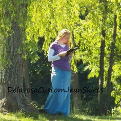 Custom to Your Size Long Jean Skirt size by CustomJeanSkirts