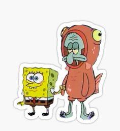 "cartoon drawings Squidward and Spongebob Sticker - Die-cut vinyl sticker. ""Hi I'd like you to meet my best friend, Squidward! Stickers Cool, Cute Laptop Stickers, Bubble Stickers, Meme Stickers, Cartoon Stickers, Phone Stickers, Printable Stickers, Planner Stickers, Bumper Stickers"