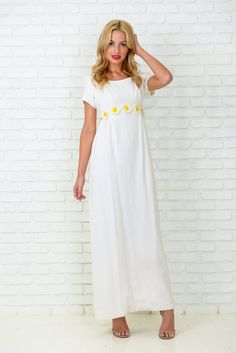 Vintage 60s 70s White Yellow Maxi Dress by thekissingtree on Etsy