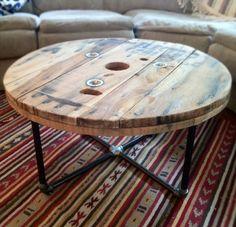 Reclaimed wood spool table.