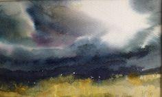Janine Pinion - Yellow Field 2 (18x30cm watercolour) SOLD