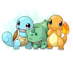 Pokemons iniciales de diferentes regiones tipo.AGUA,PLANTA,FUEGO