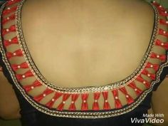 Karwa chauth special Blouse Design - YouTube Salwar Neck Designs, Saree Blouse Neck Designs, Simple Blouse Designs, Stitching Dresses, Everyday Hacks, Designer Blouse Patterns, Dress Indian Style, Blouse Styles, Beadwork