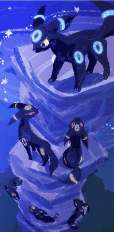 What if Umbreons hunt in packs and use their rings to communicate like fireflies? Four legged crazy moonfox fireflies?   Rated R for Rattata