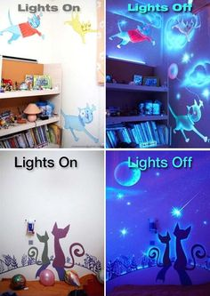 What's better than decorating a kid's room with a cool glow-in-the-dark wall mural? All you need is just a small can of glow-in-the-dark paint, a pencil and your creative ideas.