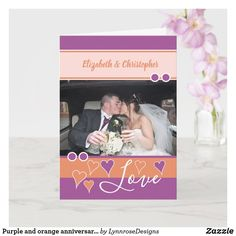 Purple and orange anniversary with photo card Happy Anniversary 1 Year, Wedding Anniversary Greeting Cards, Wedding Anniversary Photos, Custom Greeting Cards, Plant Design, Thoughtful Gifts, Love Heart, Photo Cards, Place Card Holders