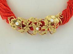 IGDM Collana Torchon Corallo Rosso Sardegna 40cm Cera Persa Artigianale Oro 18k   eBay