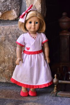 American Girl style 4 piece outfit in red polka dot including dres, shoes, hair bow and necklace by TresChicDollClothes on Etsy