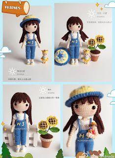 Yun Shu: little girl doll in bib jean pants