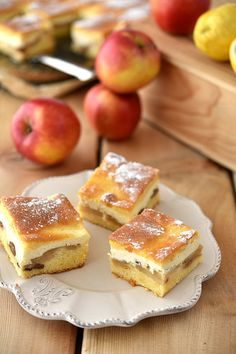 Cytrynowe ciasto z serem i jabłkami Polish Desserts, Polish Recipes, Delicious Desserts, Dessert Recipes, Apple Cake, Sweet Tooth, Cheesecake, Food And Drink, Cooking Recipes